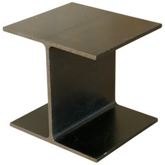 Steel Side Table Shaped like an I-Beam