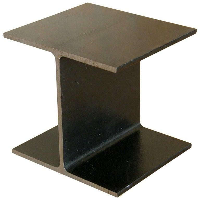 Steel Side Table Shaped like an I-Beam For Sale
