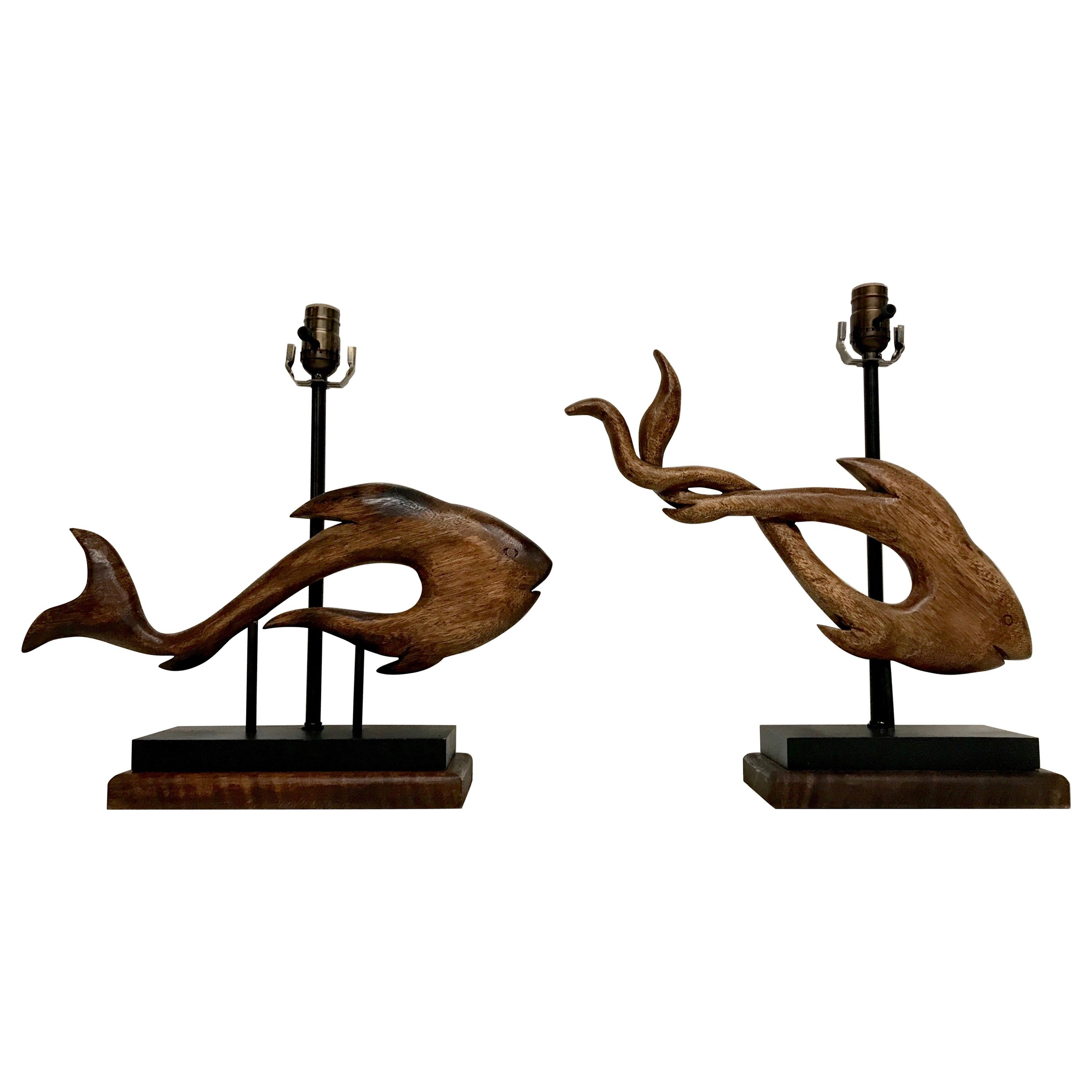 Pair of Midcentury Carved Wood Fish Sculptures Now as Lamps