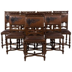 Antique 19th Century Set of Eight Renaissance-Revival Dining Chairs