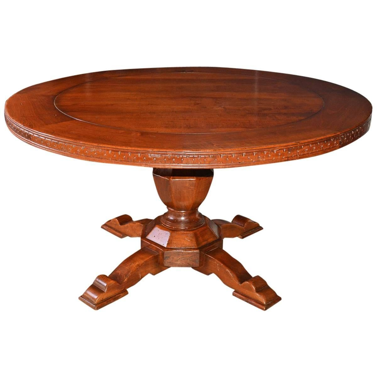 Vintage Round Wood Dining Or Conference Table For Sale