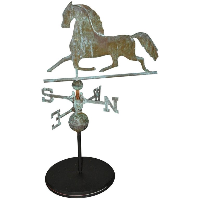 Vintage Wooden Weathervanes: Antique Copper Weathervane On Stand For Sale At 1stdibs