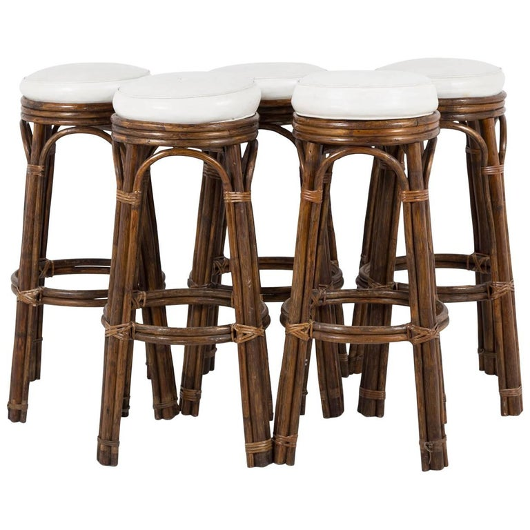 Mid Century Bamboo and Leather Bar Stools