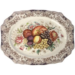English Transferware Large Platter, Harvest Fruit Pattern by Johnson Brothers