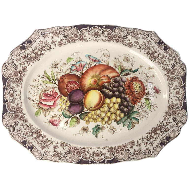 English Transferware Large Platter, Harvest Fruit Pattern by Johnson Brothers 1