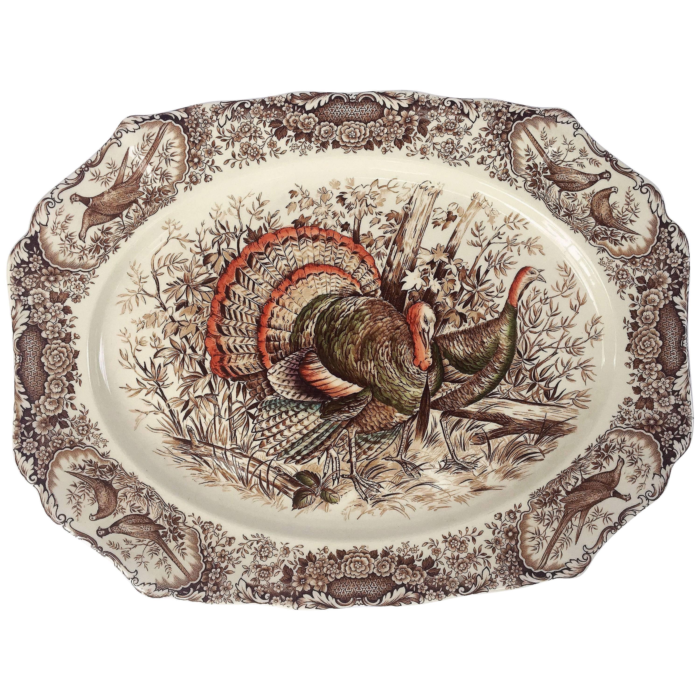 English Transferware Large Turkey Platter, Native American by Johnson Brothers
