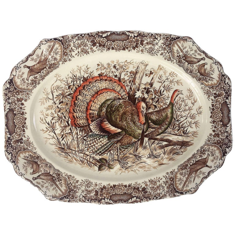 English Transferware Large Platter, Native American by Johnson ...