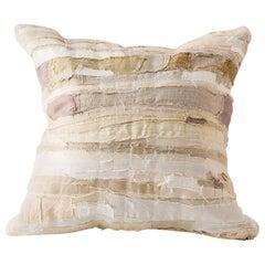 Harry Cushion in Piecework Stripe, Ecru Cream Natural Linen Colors