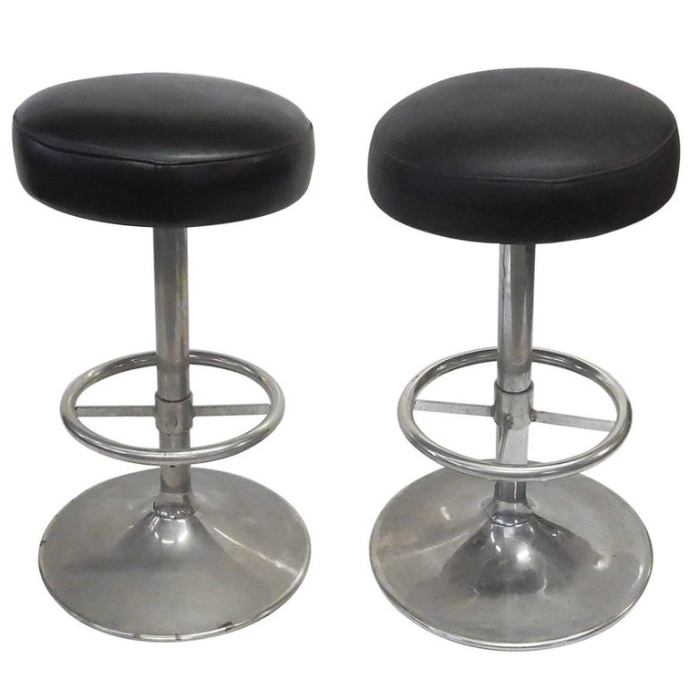 Industrial 1930s Bar Stools in Nickel Finish 1