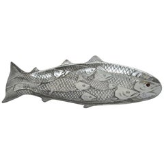 Hammered Aluminium Fish Platter by Arthur Court, 1986