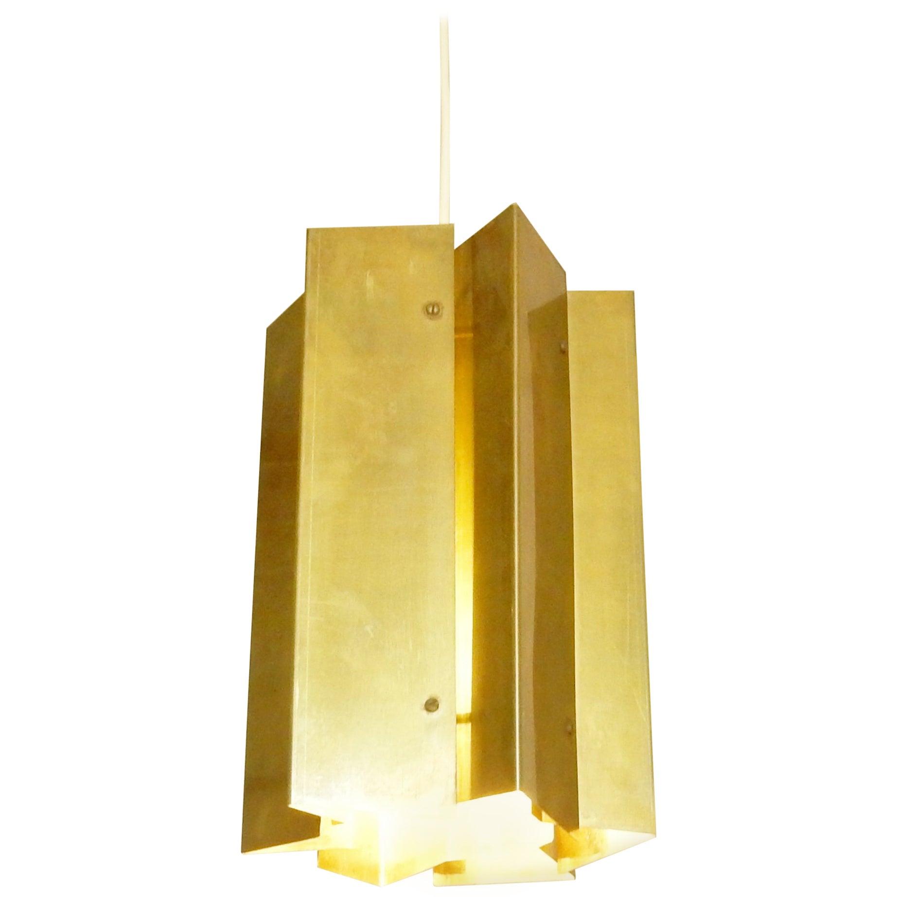 Simon Henningsen Style Pendant Light in Solid Brass, Denmark, 1960s