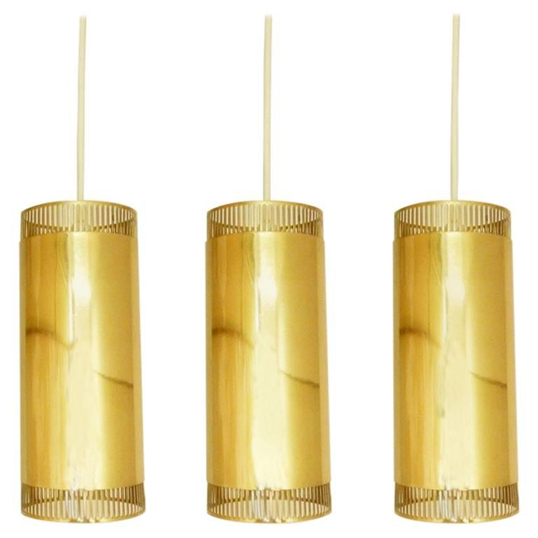 Set of Three Pendant Lights in Brass, Scandiavian, 1960s