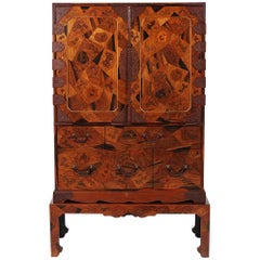 Rare Japanese Export Marquetry Cabinet with Drawers on Stand