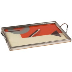 Art Deco Geometric Lacquered Serving Tray, German, circa 1930