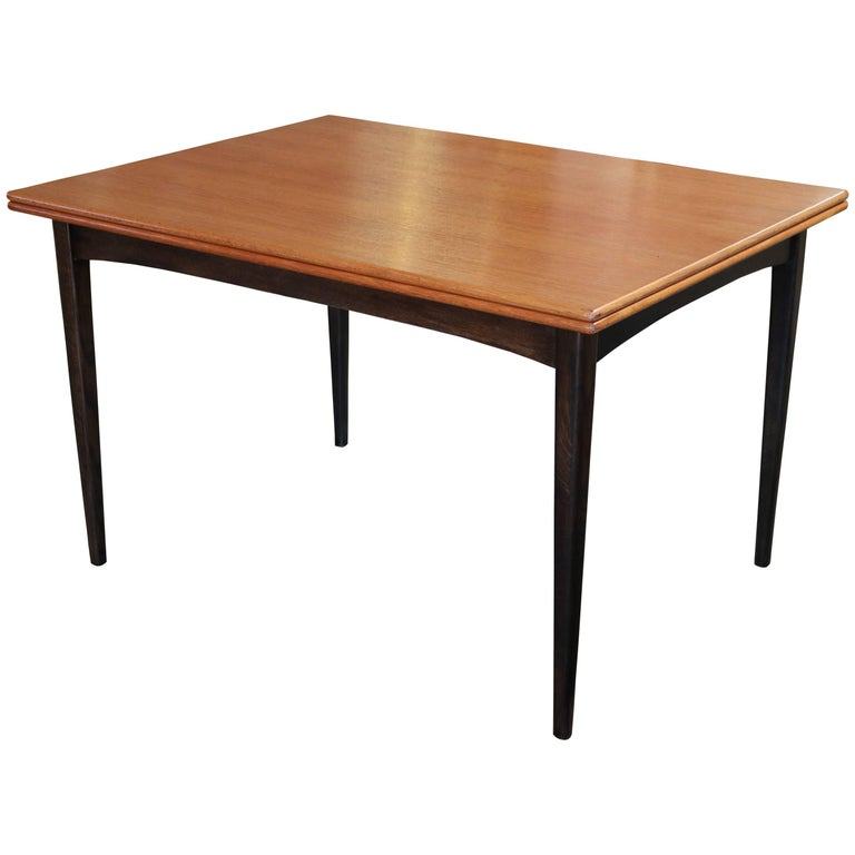 Flip-Top Teak Dining Table by DUX For Sale