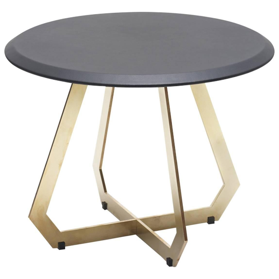 Beau Fetish Table In Leather And Brass, Side Table, Small For Sale