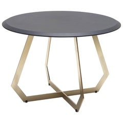 Fetish Brass and Leather, Side Table, Large