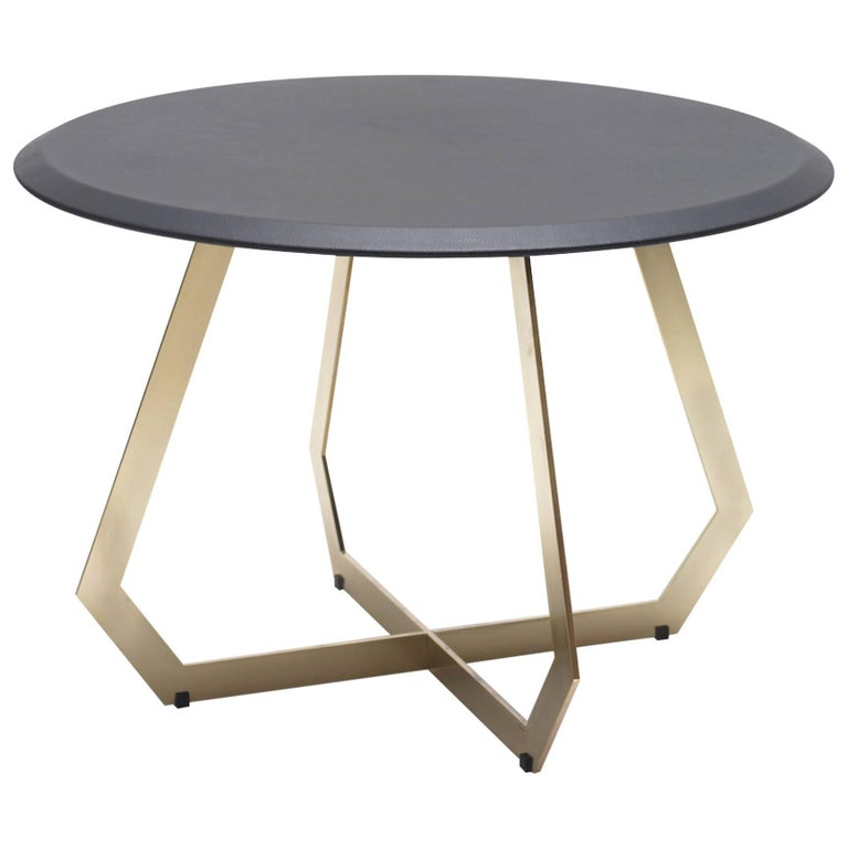 Fetish Brass and Leather, Side Table, Large For Sale