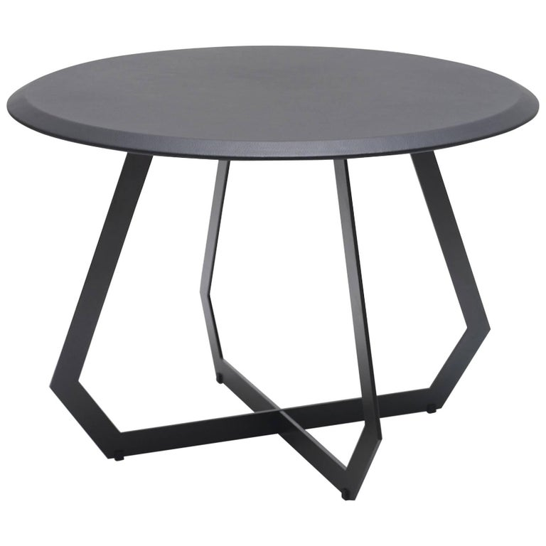 Fetish Table Black / Large, Side Table, Leather and Metal For Sale