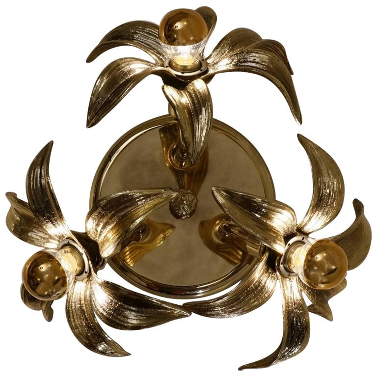 Brass Flower Light in the Style of Willy Daro by Massive, circa 1970s, Belgian For Sale