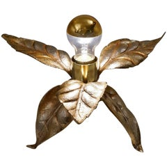 Willy Daro Style Brass Flower Table Lamp by Massive, 1970s, Belgian