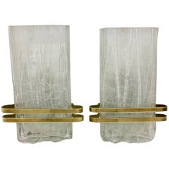 Pair of Ice Block Glass Sconce Doria Leuchten