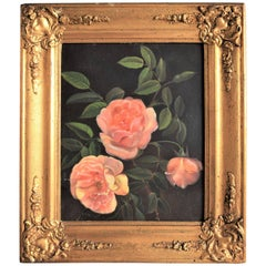 Oil Painting of Pink Roses from Mid-19th Century