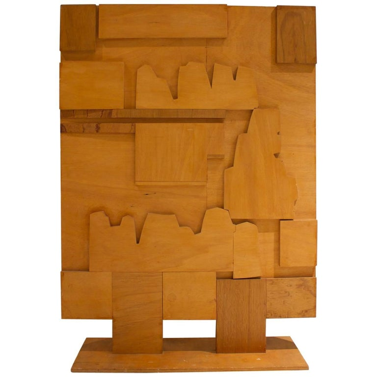 Folk Art Wooden Screen with Abstract Design, Mid-20th Century, European For Sale