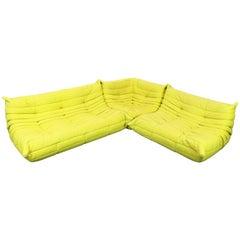 Togo Sofa Set or Livingroom Set Michel Ducaroy for Ligne Roset Pop Art Lime 1970