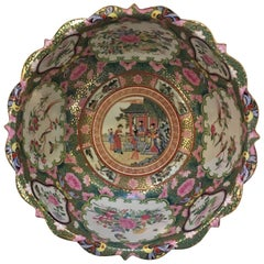 Chinese Canton Style Famille Rose Porcelain Punch Bowl