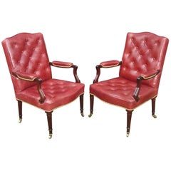 George III Pair of Mahogany and Leather Library Chairs