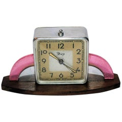 Art Deco Small Modernist French Clock by Dep