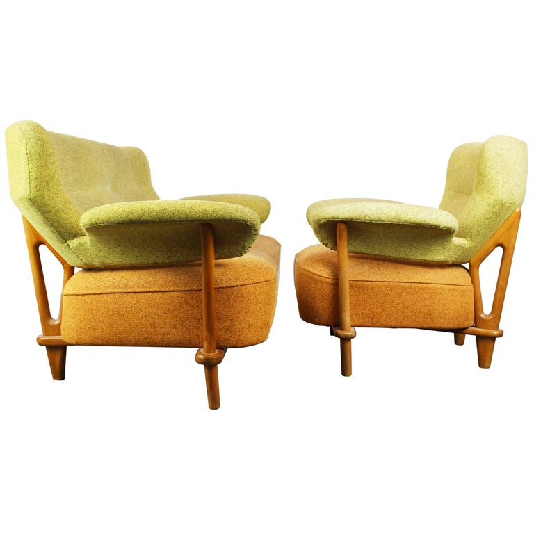 Rare Living Room Set / Sofa and Lounge Chair F109, Theo Ruth for Artifort, 1950
