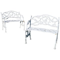 Pair of Victorian Cast Iron Serpent and Twig Garden Seats or Benches, circa 1860