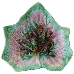 English Majolica Leaf Plate, circa 1890