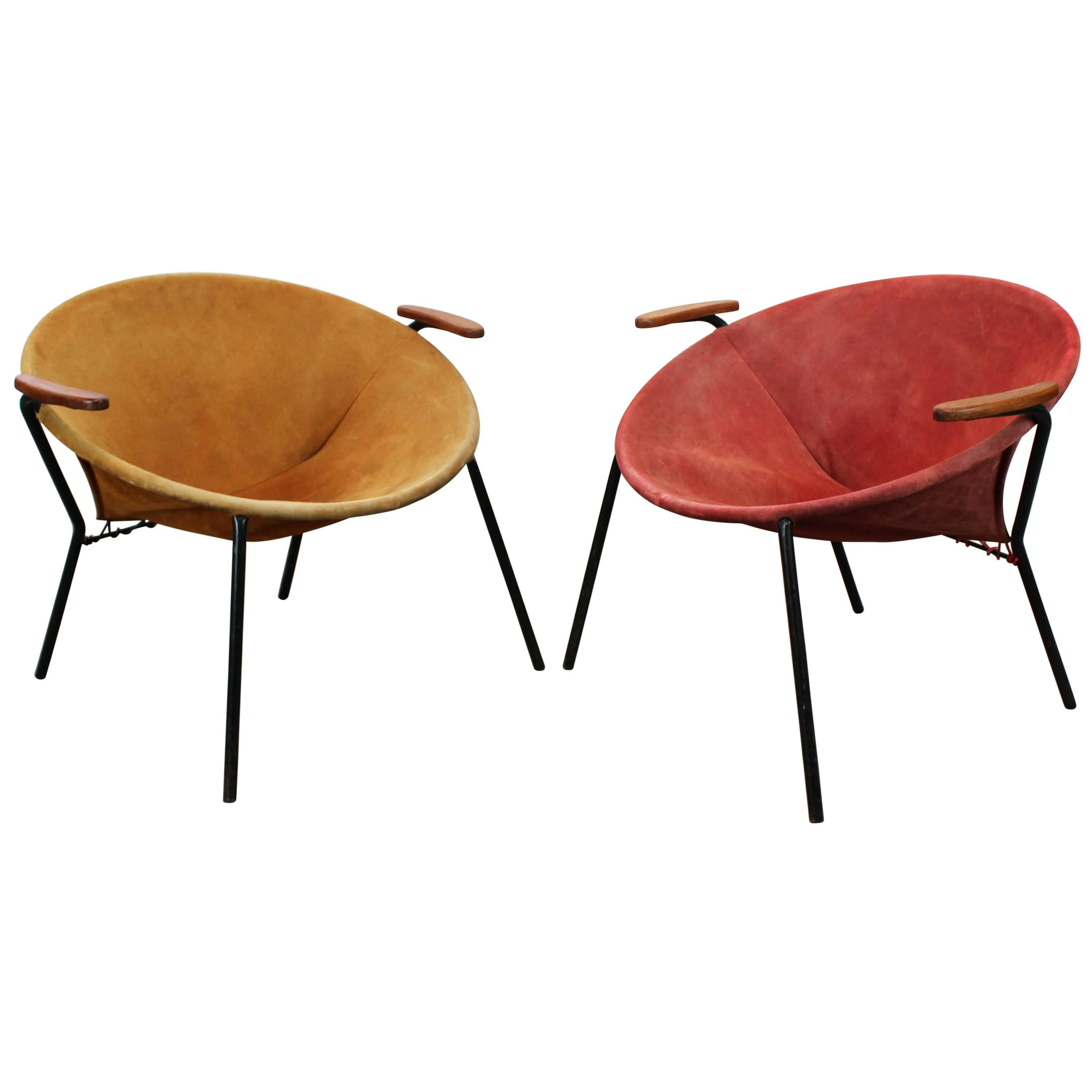 Pair Of Colorful Balloon Lounge Chairs By Hans Olsen Teak Red Yellow Black,  1950