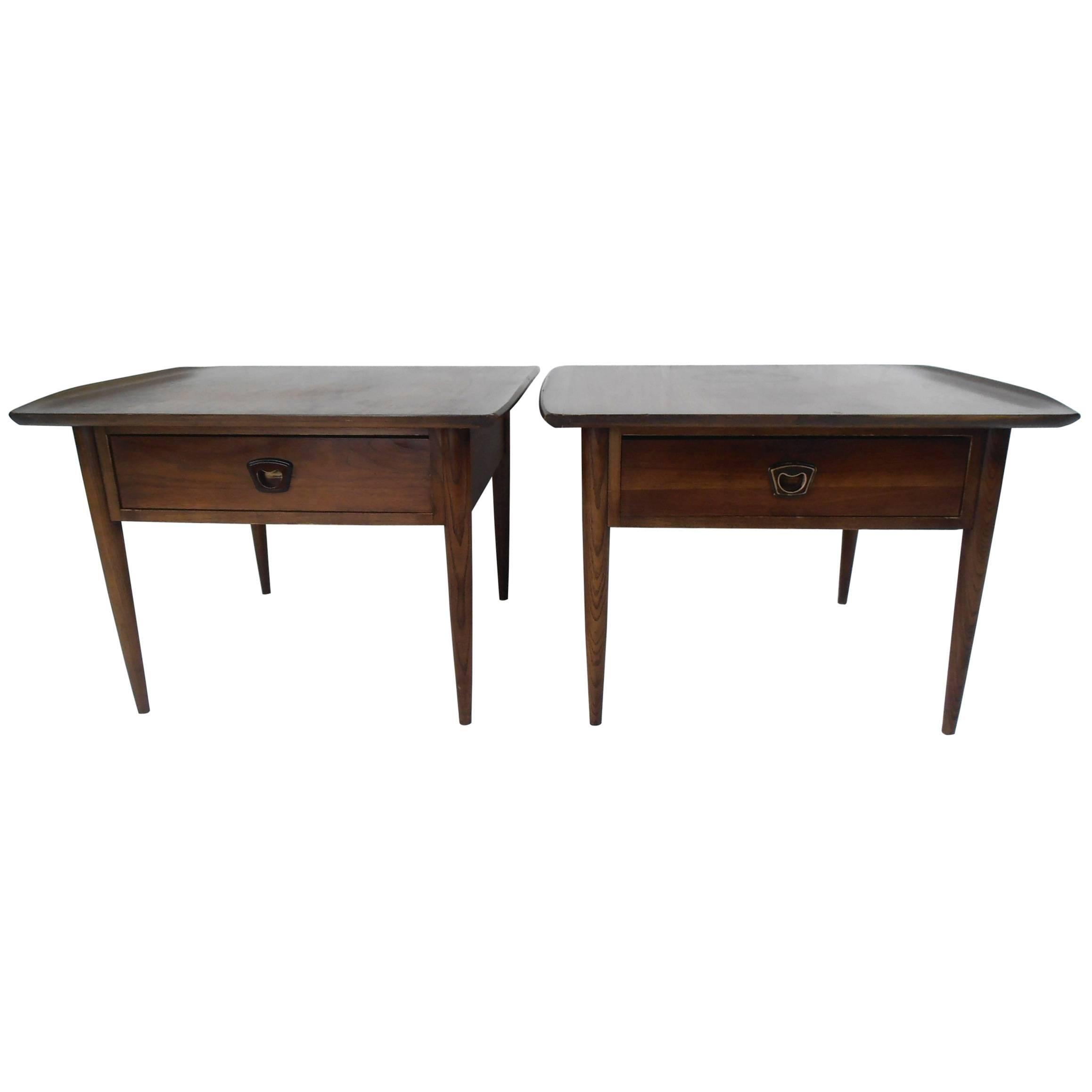 midcentury modern walnut end tables by bassett