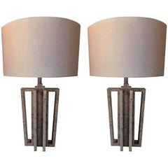 "Pair of Italian White Carrara Marble Table Lamps, ""VARA"" by Massimo Mangiardi"