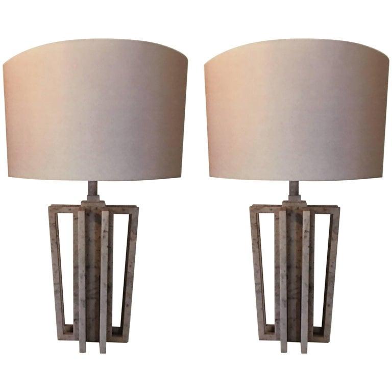 "Pair of Italian White Carrara Marble Table Lamps, ""VARA"" by Massimo Mangiardi 1"