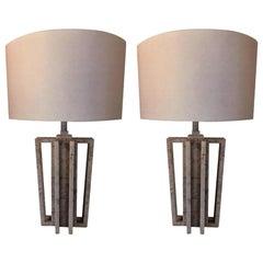 "Pair of Italian White Carrara Marble Table Lamps, ""VARA"" by Massimo Mangiardi"
