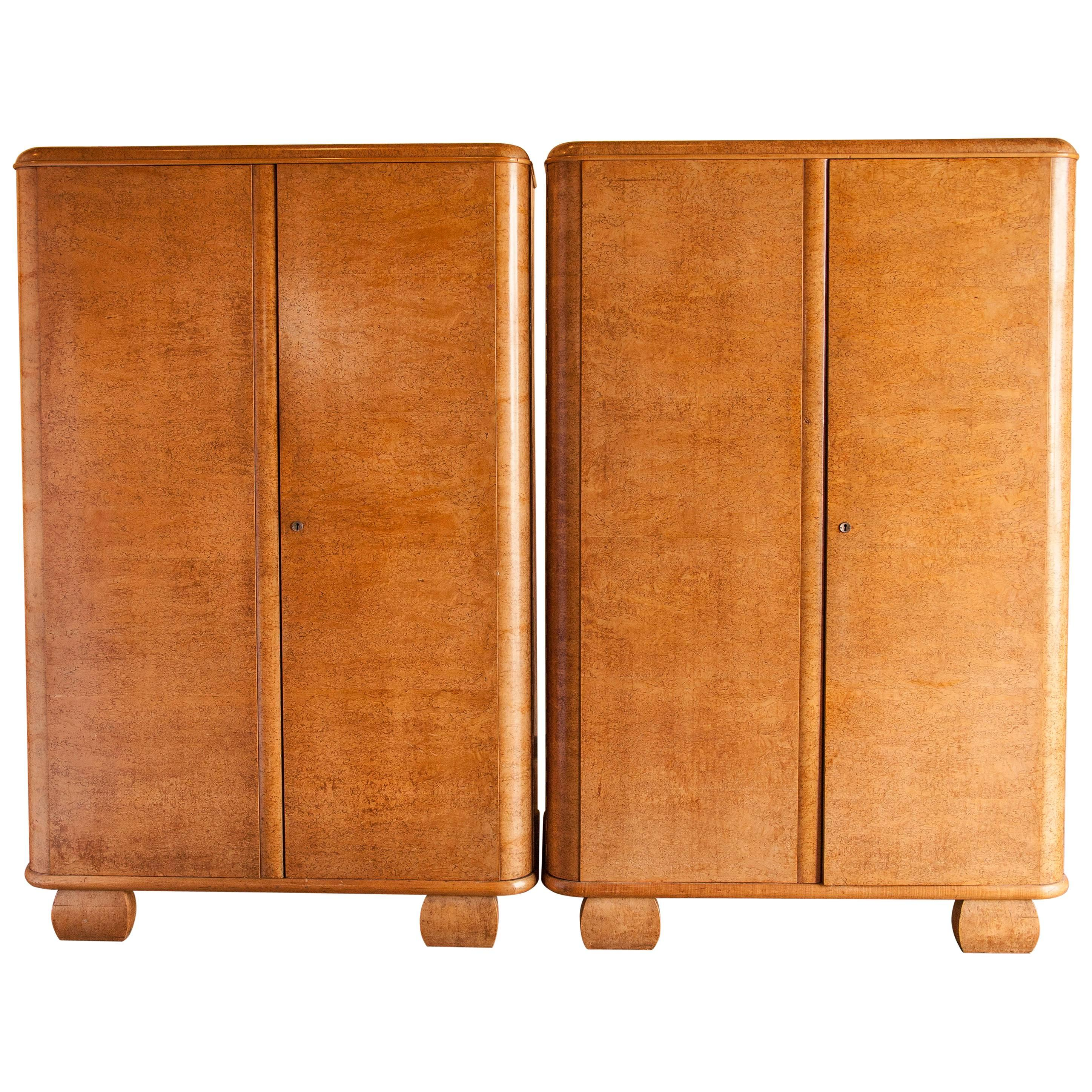 Pair Of Birdu0027s Eye Maple Art Deco Armoires, Circa 1940 For Sale