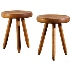 Wood Stools by Charlotte Perriand for Galerie Steph Simon