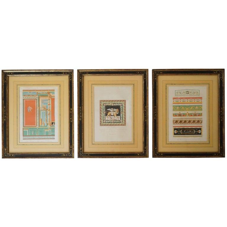 Three-Framed Classical Chromolithographs by Wilhelm Johann Karl Zahn, 1843 For Sale