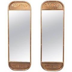 Brass Faux Bamboo Hall Mirror Pair by Designer William Doezema for Mastercraft
