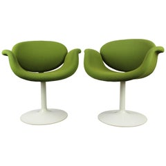 Set of Two Little Tulip Chairs by Pierre Paulin for Artifort, 1963 Green White