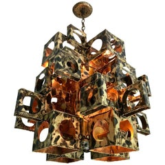 Large Tom Greene Torch Cut Brass Brutalist Chandelier for Feldman Company