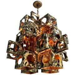 Large Tom Greene Torch Cut Brass Brutalist Chandelier for Feldman Company