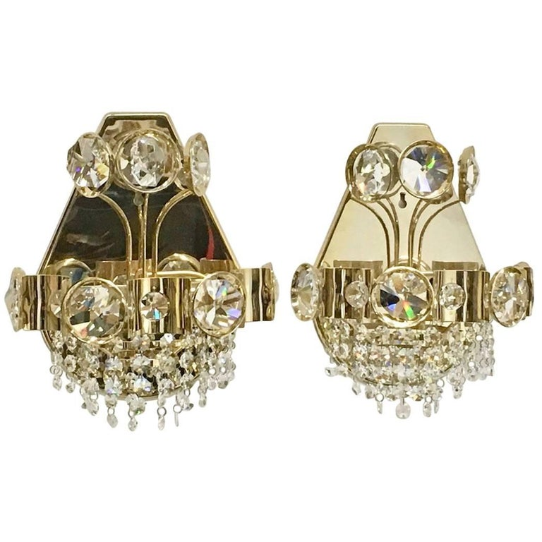 Pair of Palwa Style Crystal Glass Sconces