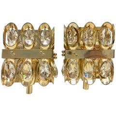 Pair of Palwa Crystal Glass Sconces Mid-Century Modern