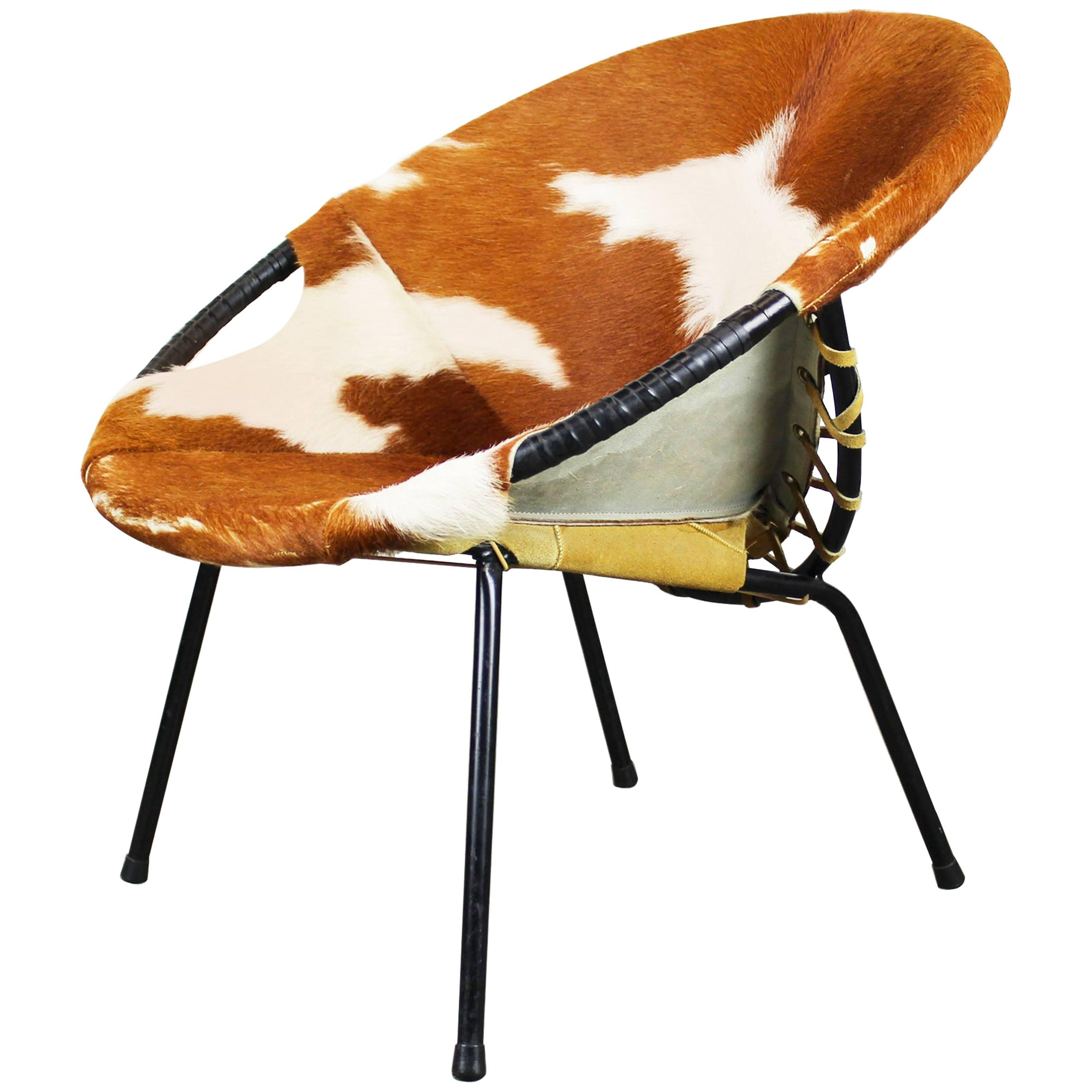 Pop Art Cowhide Balloon Lounge Chair By Hans Olsen, 1950, Black Danish  Design